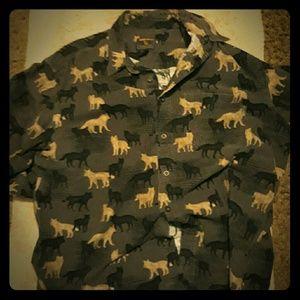Woolrich Men's Flannel Shirt Onyx wolves